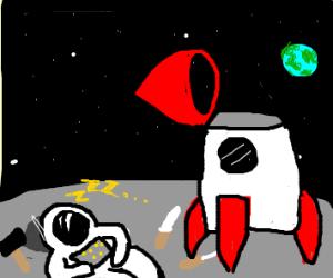 Astronaught falls asleep while repairing ship