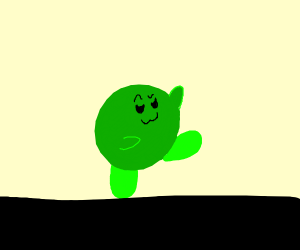 green kirby doing a lopsided sass walk