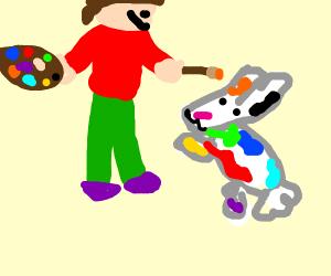 Farmer painted on a rabbit