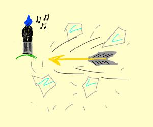 Yondu breaks something with his whistle arrow