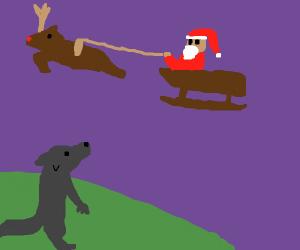 Werewolf watches Santa fly by