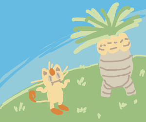 Meowth not bothered by 3 headed palm tree + r