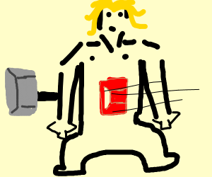 blonde man gets killed with a hammer