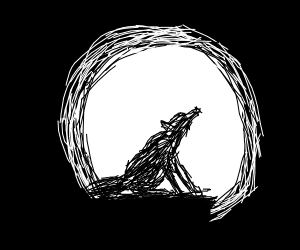 wolf howling in front of moon