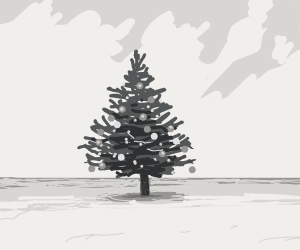 A Christmas tree in a barren landscape
