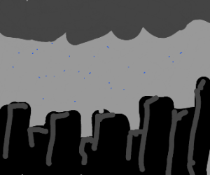 a city being rained upon