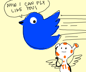 twitter bird flying through the sky like a ti