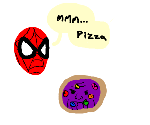 Spiderman is in love with thanos pizza