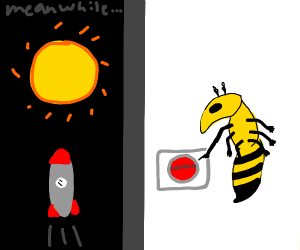 a wasp launching a rocket at the sun