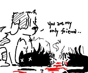 Puppy's New BFF is a Roadkill Cat
