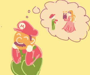 Mario thinking about Peach giving him cake