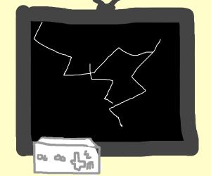 Broken TV screen