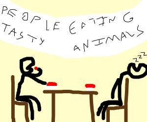 Guy eating meat at PETA meeting