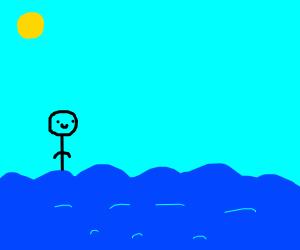 Top half of guy in ocean