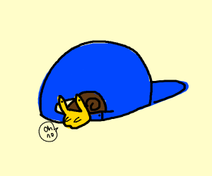 Mr.Snail put his hat in the wrong way