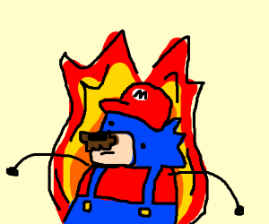 Sonic Cosplaying As Mario (Hot)