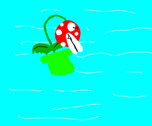 piranha plant is lost in the ocean very hungr