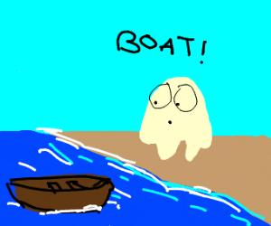 Ghost spots a boat