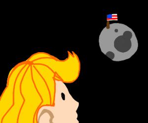 basically a girl sees a flag on the moon :)