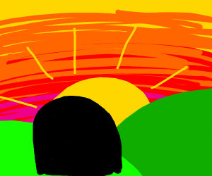 Girl watches beautiful sunset