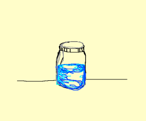 A jar of liquid