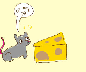 a mouse is excited to find cheese