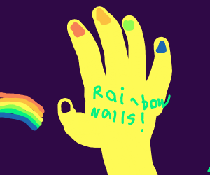 Neon hand with rainbow fingernails