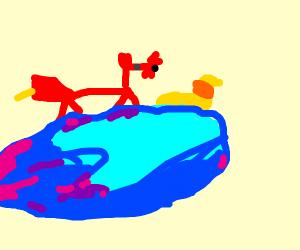 Gummy fox and gummy worm riding on a star