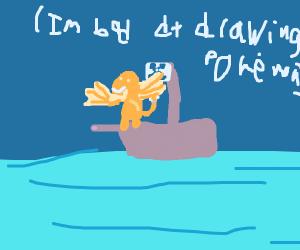 Charizard on a ship