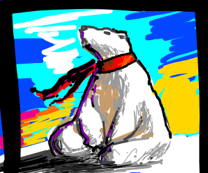 A white bear wearing a red scarf.