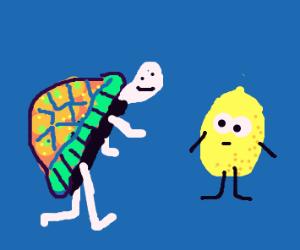 Weirdly Colored Turtle Walks Toward Lemon
