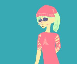 Cute blonde girl with crimson apparel