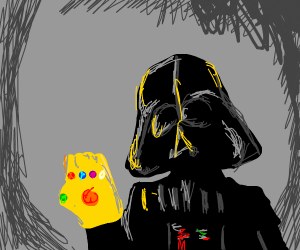 darth vader with the infinity gauntlent
