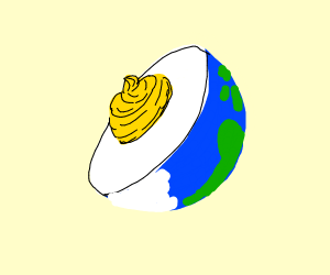 Earth is a deviled egg