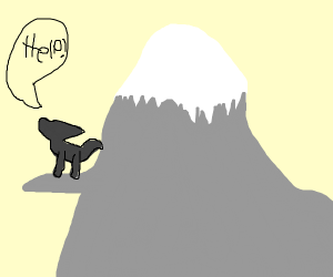 A wolf asking for help on the mountain