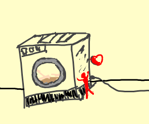 little red has a crush on the washing machine