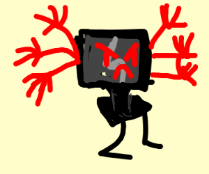 An angry tv with 6 arms and 2 legs