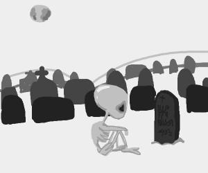 Alien in a graveyard