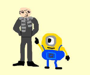 gru with a minion behind him pointing at him