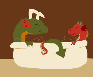 dragons bathing
