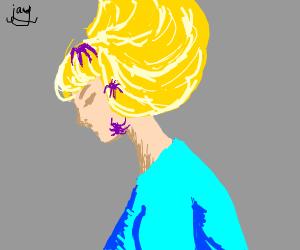 Girl with purple bugs on her head