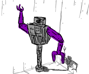 Robot with purple arms