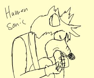 Human Sonic eats hot dog