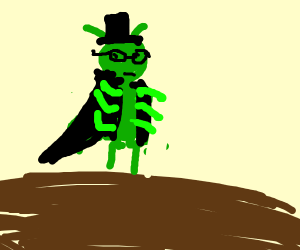 bug in long coat, hat, and glasses