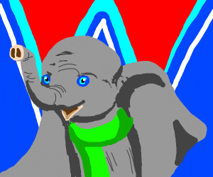 dumbo with a neon green scarf
