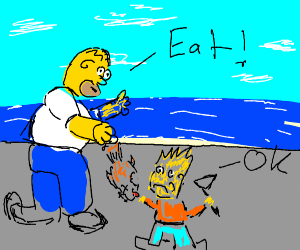 Homer tells Bart to eat dead fish. Bart obeys