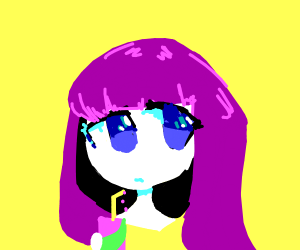 Anime girl with purple hair drinking soda