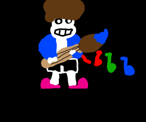 Sans Bob Ross playing paint brush guitar