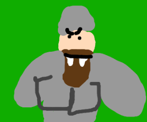Armored guy with a beard and big teeth