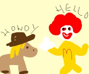 Ronald McDonald tells Applejack hello.